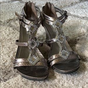 Kenneth Cole Gunmetal Wedge Sandals